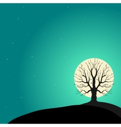 Tree on a background of the moon vector