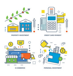 types of investments e-commerce and credit card vector image