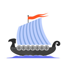 Viking long boat icon vector