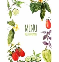 Watercolor menu template vector image