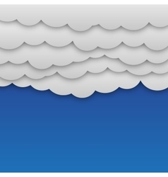 White paper clouds at blue background vector
