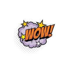 wow cartoon comic book sound pop cloud puff vector image