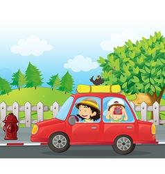 Cartoon Roadtrip Car vector image