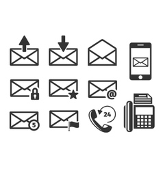 Email and phone icons set vector image