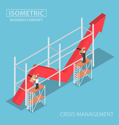 isometric businessman trying to fix broken graph vector image vector image