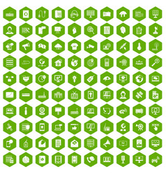 100 telecommunication icons hexagon green vector image vector image