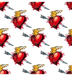 Flaming red heart pierced by an arrow vector image vector image