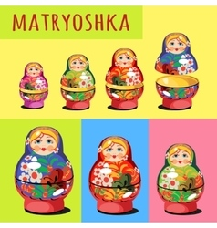 Set of matryoshka Russian folk toy vector image