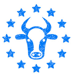 Starred bull icon grunge watermark vector