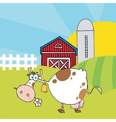 White Cow Eating A Daisy Near A Barn And Silo vector image vector image