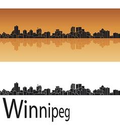 Winnipeg skyline in orange background vector image vector image