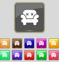 Armchair icon sign Set with eleven colored buttons vector image