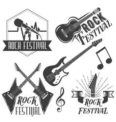 set of rock festival labels in vintage vector image
