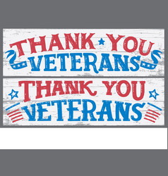 thank you veterans wood signs vector image