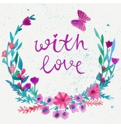 Watercolor flower laurel wreath with butterfly vector image vector image