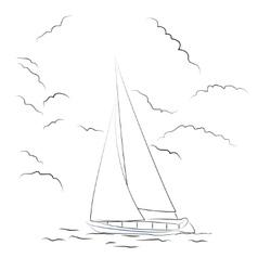 Boat sketch vector image vector image