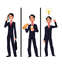 businessman manager talking by phone eating vector image