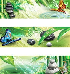 Three horizontal banners with background of a SPA vector image vector image
