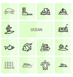 14 ocean icons vector