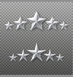 5 silver stars rating set isolated on transparent vector image