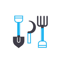 agricultural tools linear icon concept vector image