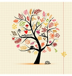 Autumn tree sketch drawing for your design vector