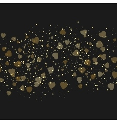 Background with beautiful golden hearts vector