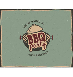 Bbq party typography poster template in retro old vector