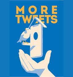 Blue bird tweet mobile devise in hand more vector