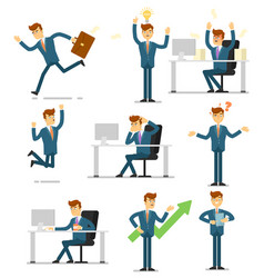 Businessman character isolated set vector