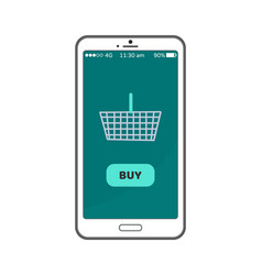 buy now button on smartphone screen metal basket vector image