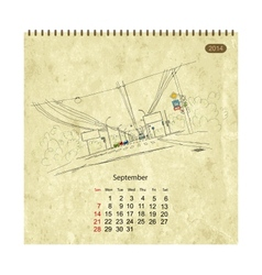 Calendar 2014 september Streets of the city sketch vector