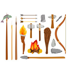 Cartoon stone age tools vector