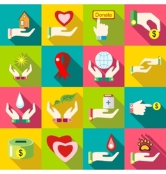 Charity icons set flat style vector image
