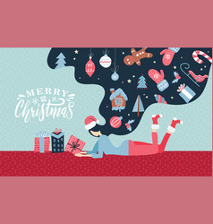 christmas winter with cute young vector image