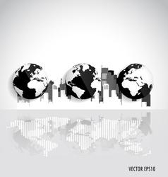 City with modern globe design vector
