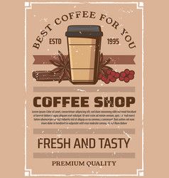 Coffee shop retro poster paper cup and spices vector