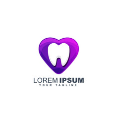 Colorful dental logo design template vector