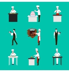 Cooking with chef figures icons set vector image