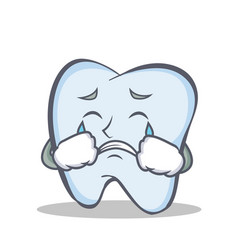 Crying tooth character cartoon style vector
