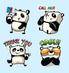 cute panda sticker panda patches vector image