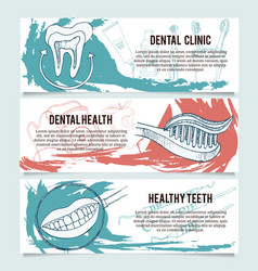 Dental banners or website header set vector