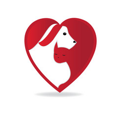 dog and cat heart love logo vector image