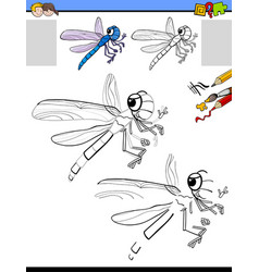 Drawing and coloring activity with dragonfly vector