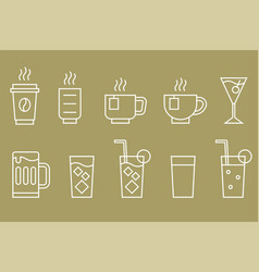 drinks and beverage line icon set vector image