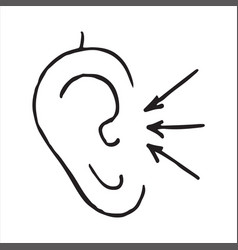 ear with sound waves hand drawn doodle icon vector image