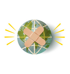Earth planet with plaster vector