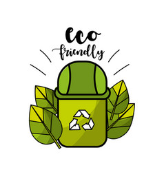 Ecological can trash with organic leaves vector
