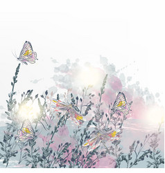 elegant floral with dragonfly vector image