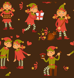 elf male and female children in love santa claus vector image